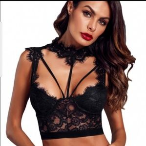 Tops - Black Lace Strappy  Bustier